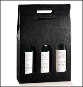 Picture of Draagkarton 3 fles zwart 27x9x38,5 cm