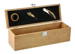 Afbeelding van Luxe bamboe 1 fles kist met 3 accessoires